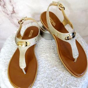 NWOB! Michael Kors beautiful gold leather sandals